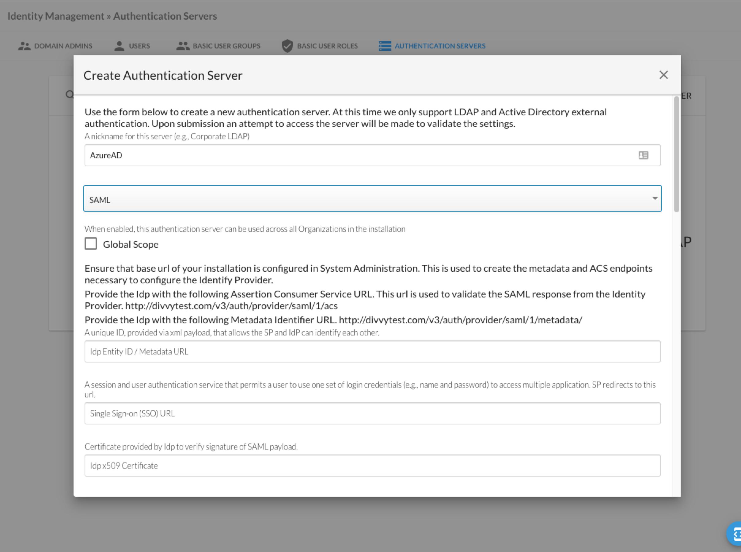 Create Authentication Server Menu