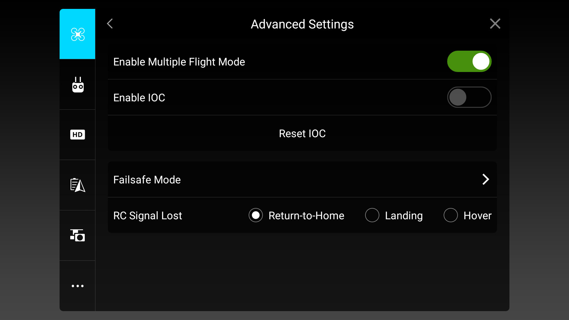 The correct settings for DroneDeploy compatibility in the DJI GO App.