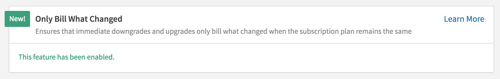 After Only Bill What Changed is enabled