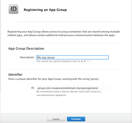 Register an App Group
