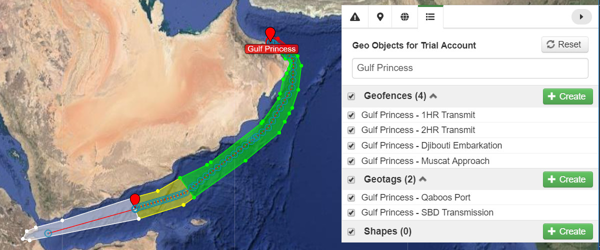 Show Gulf Princess Geo Objects
