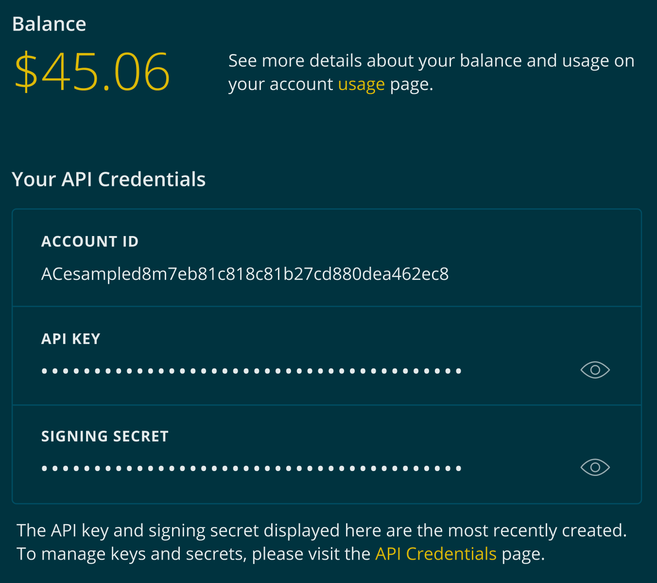 The dashboard contains your most recently created signing secret