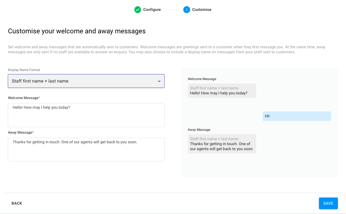 Customise welcome and away messages