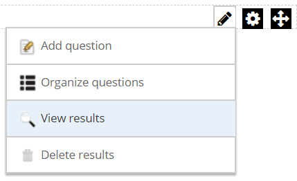 View results option in the module's action menu