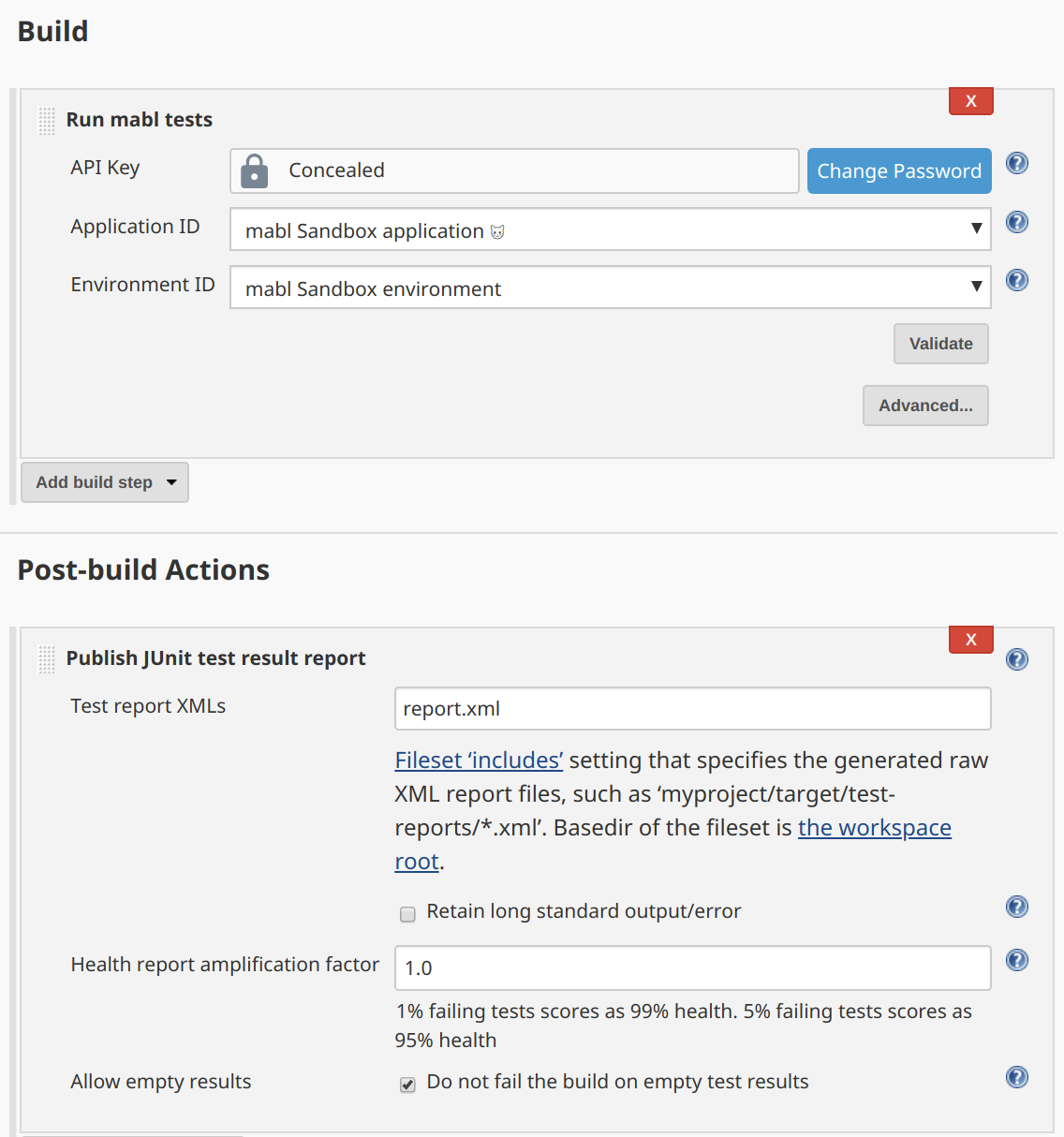 Configured Jenkins mabl build action and JUnit test reporting