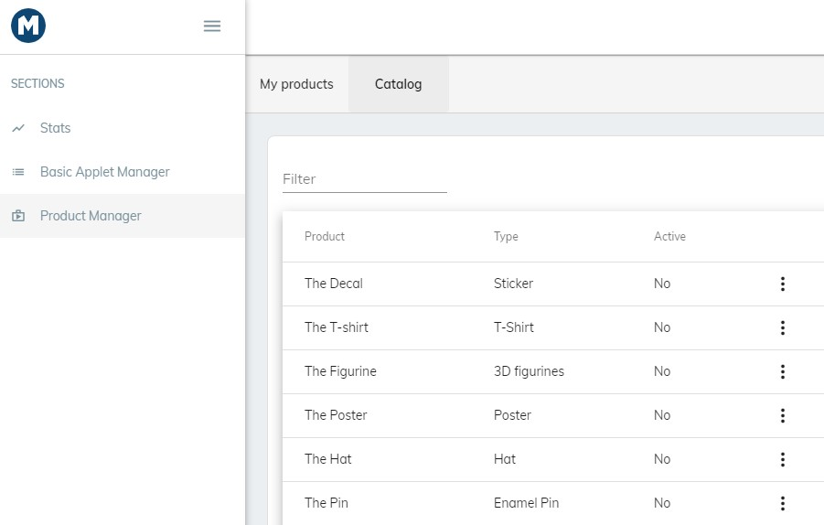 In Product Manager Catalog you can find item templates that can be customized for your game.