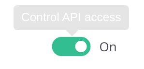 Pause and unpause API access for a respective key with this button