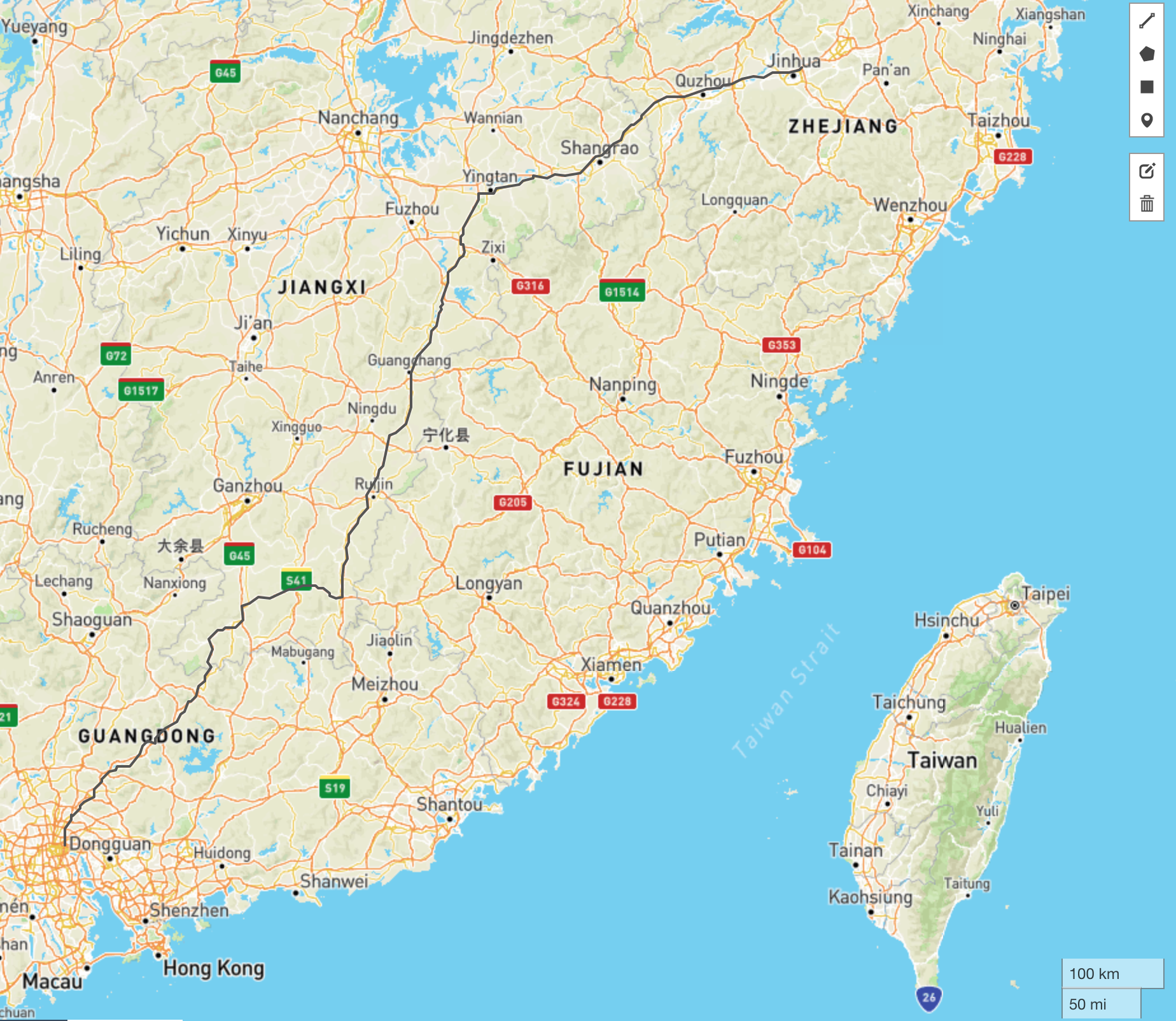 Sample route from our routing API for road in mainland China.