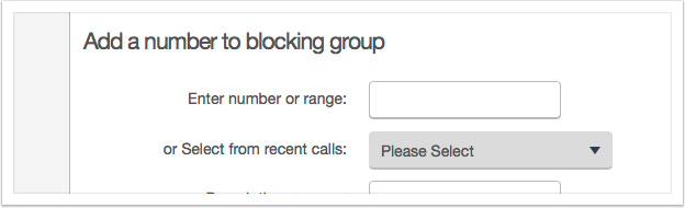 Use the controls to block numbers