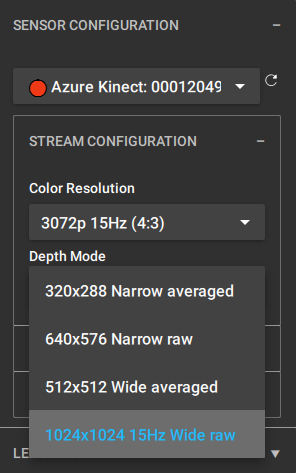 We recommend 1024x1024 15Hz Wide raw for the Camera Pairing stage only.