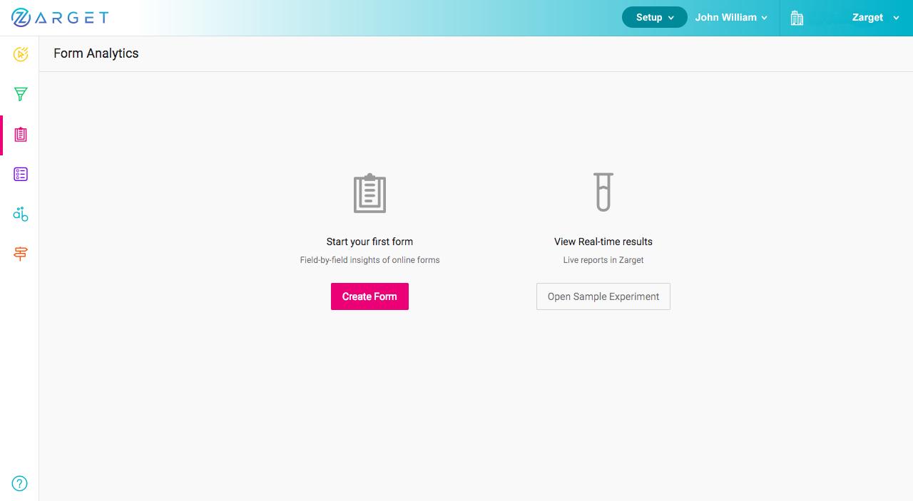 Form Analytics in Zarget Dashboard