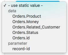 Data references available on the CRUD Details page for an Orders resource.
