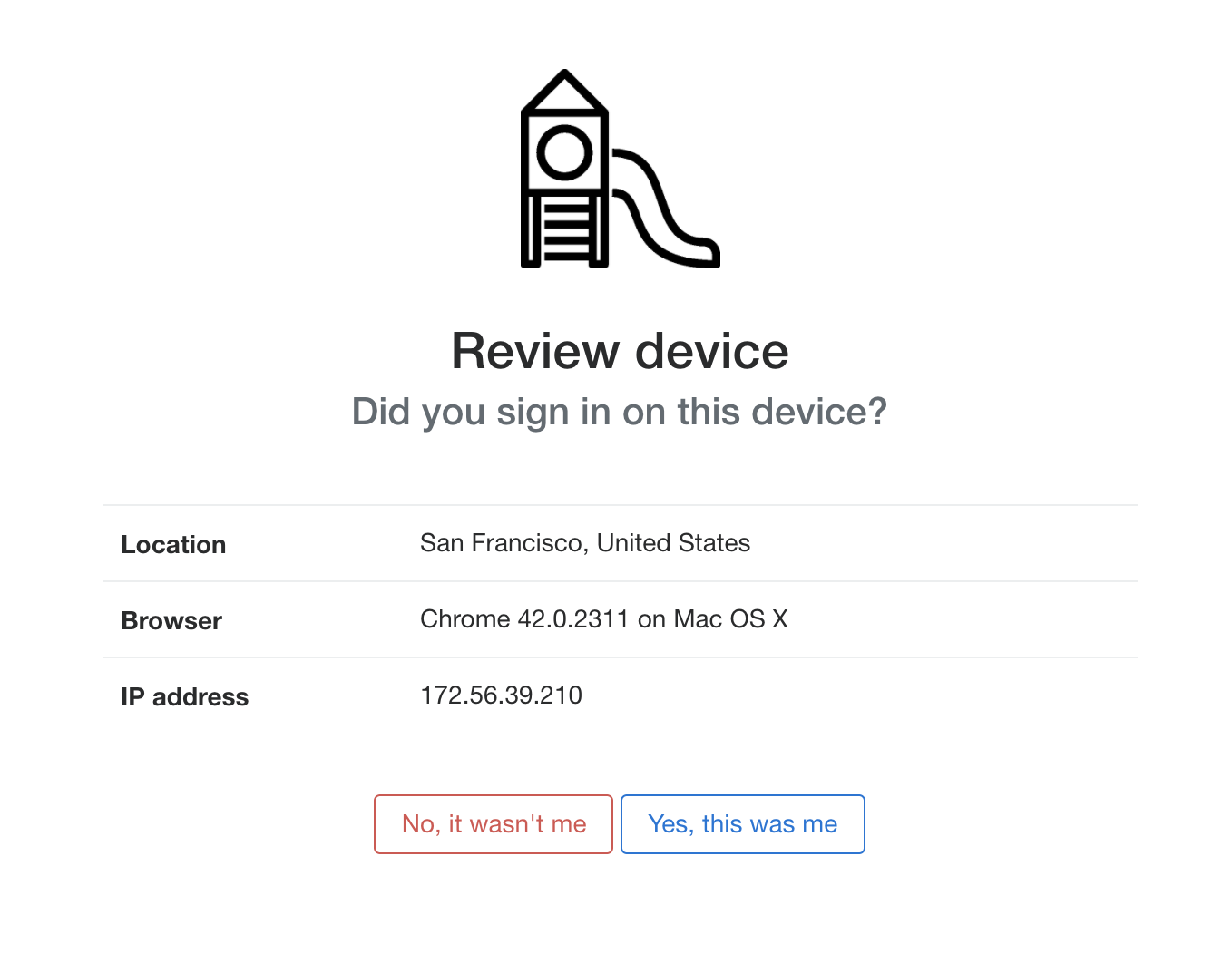 An example prompt asking a user if they recognize the device details
