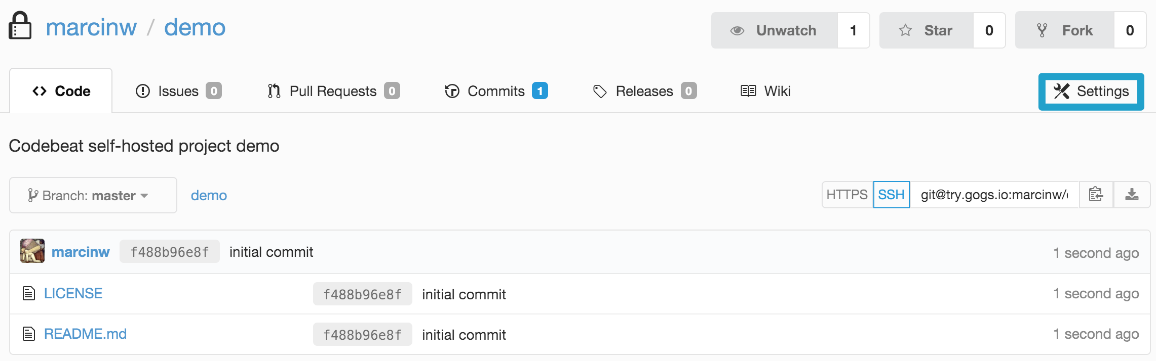Using codebeat with a self-hosted repo