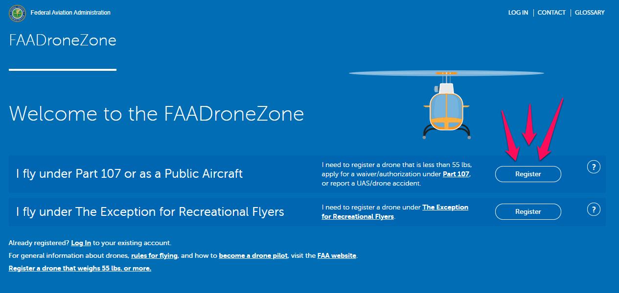 [FAA DroneZone](https://faadronezone.faa.gov/#/)
