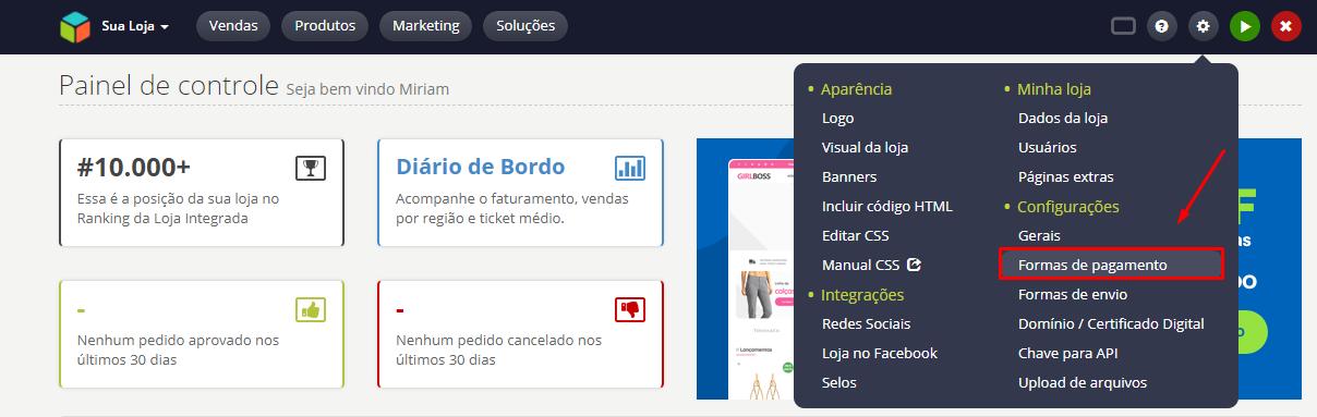 d330d0e8bd926 Instalando as formas de pagamento na plataforma Loja Integrada