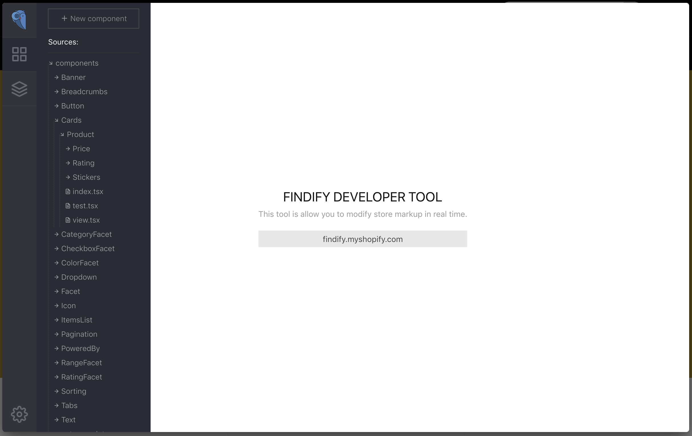 Front page of the Findify Developer Tool