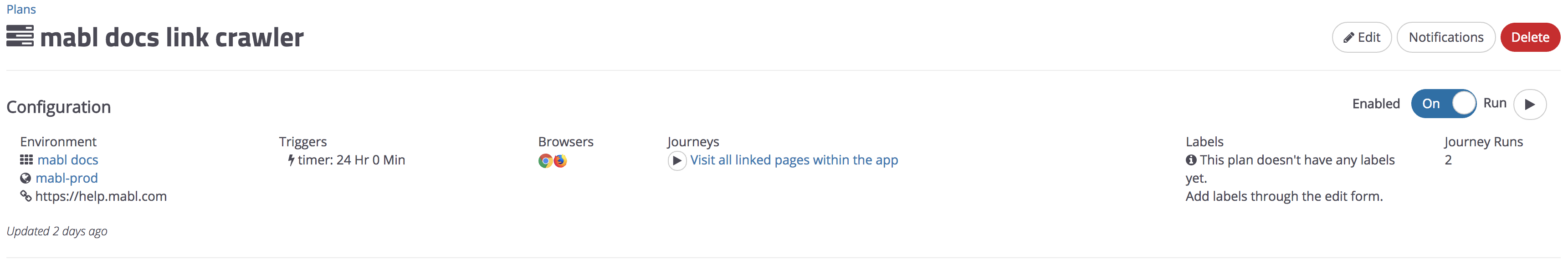 A plan with multiple browsers and one journey.