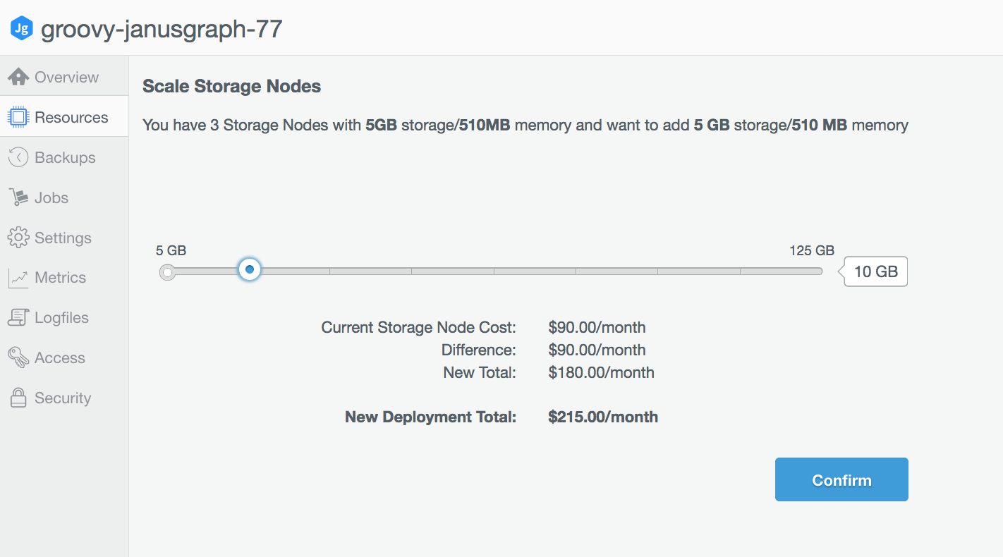 Increasing storage size for the deployment.