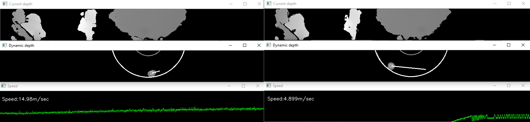 Fig. 5: Speed measurement of moving cylinders from Figure 4.   LEFT: 400fps capture, and RIGHT: 30fps capture.  Each image shows original depth (upper), moving object depth and motion vector (middle), and measured speed (bottom). At 400fps, the object speed of ~15 m/sec is measured correctly, whereas for the 30fps mode it fails.