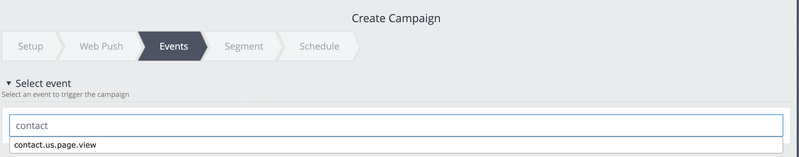 """Example of a web push campaign that is triggered whenever the client visits the """"contact us"""" page."""