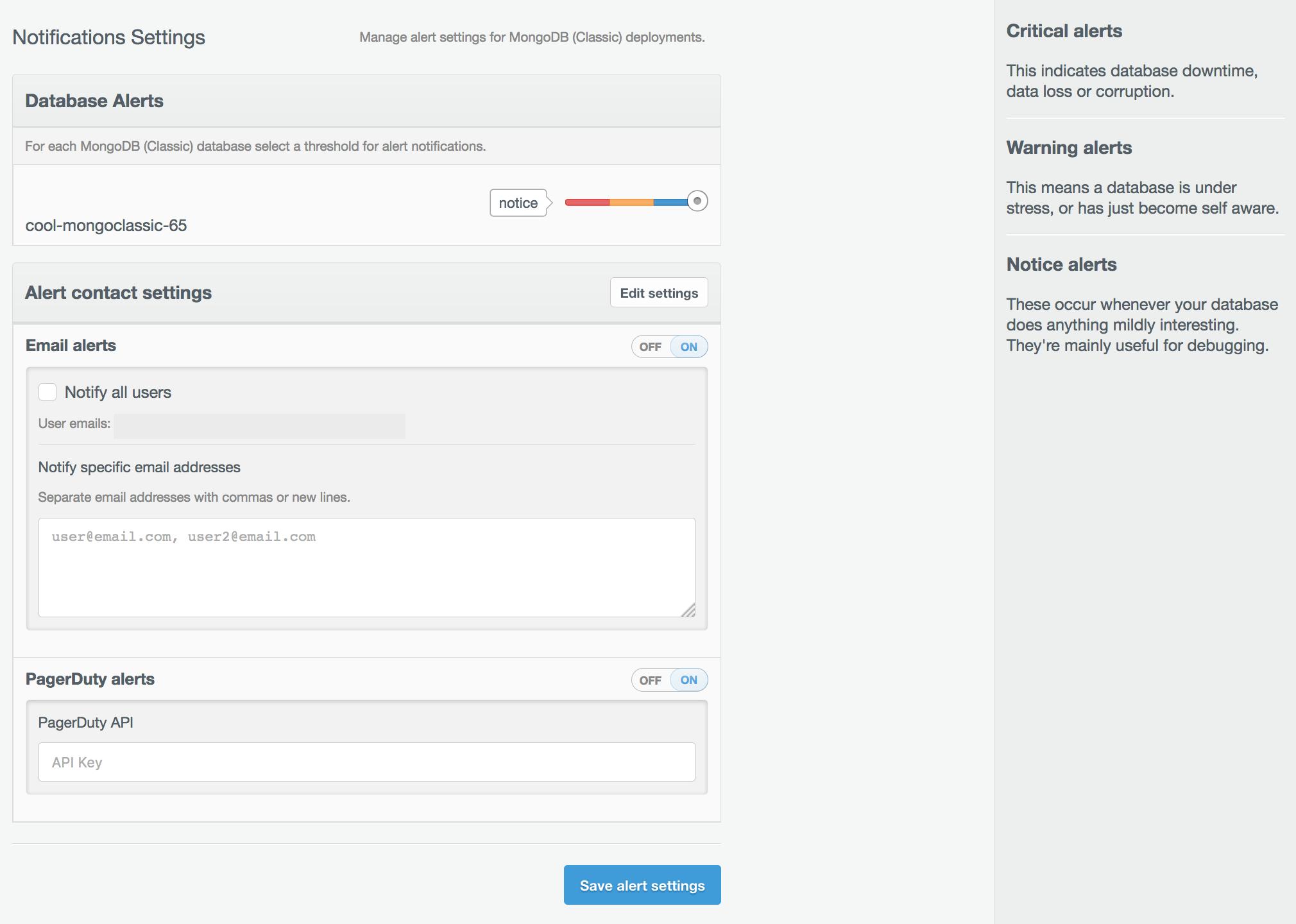 MongoDB Classic alerts and notifications settings.