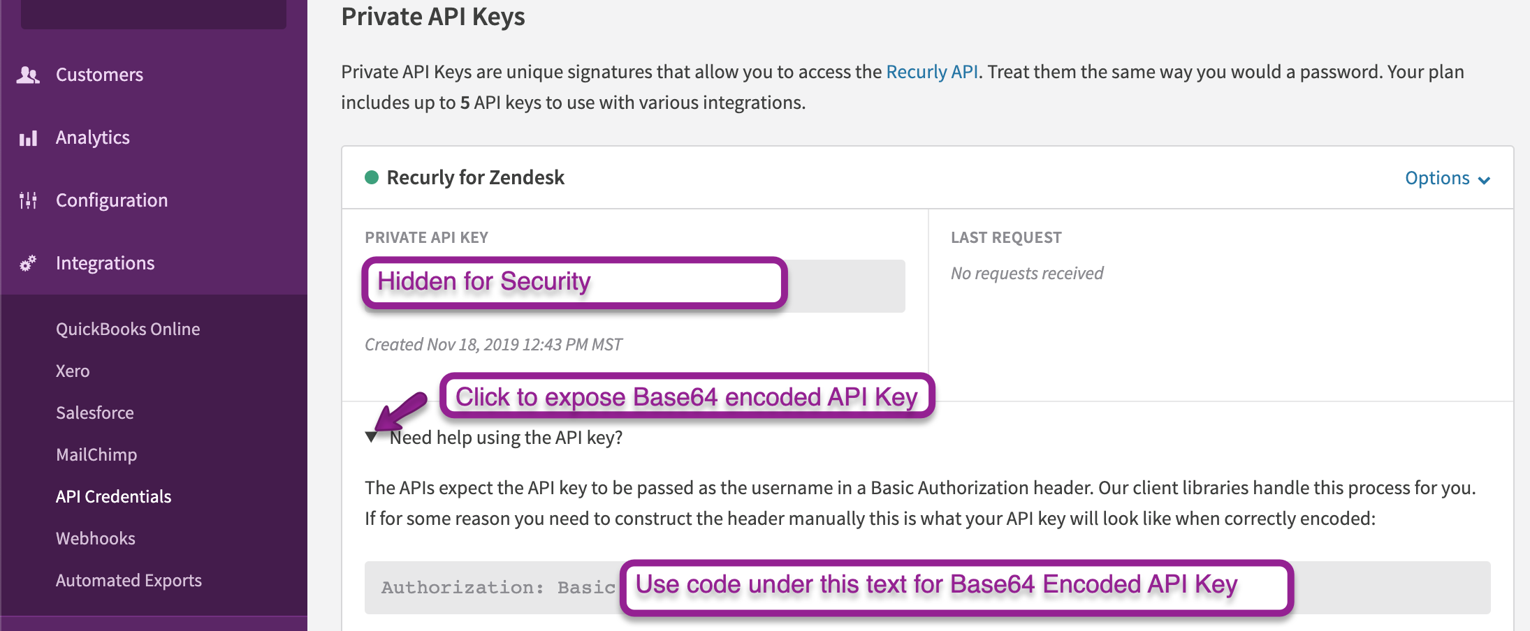 Follow the steps above to access your Base64 encoded API key to enter into the Zendesk interface