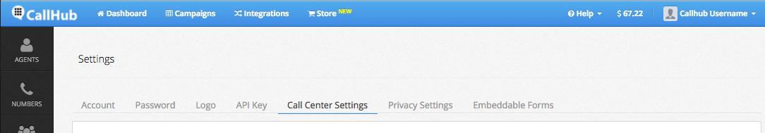 Call Center settings