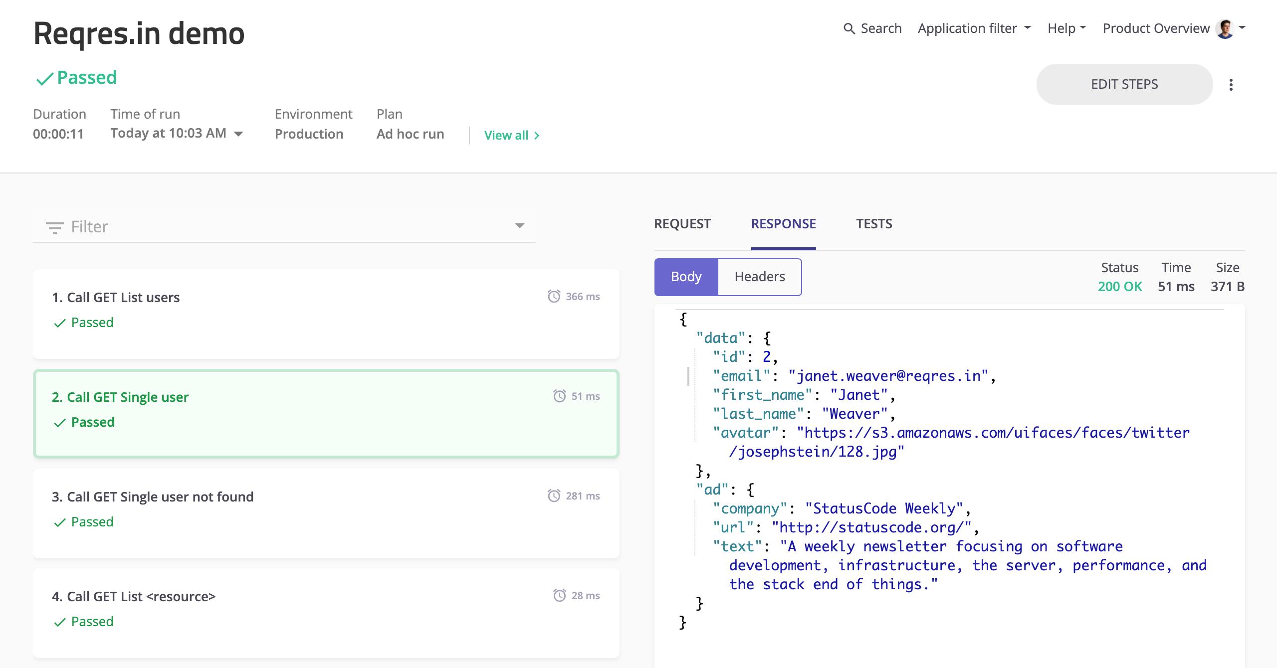 mabl API test run results.