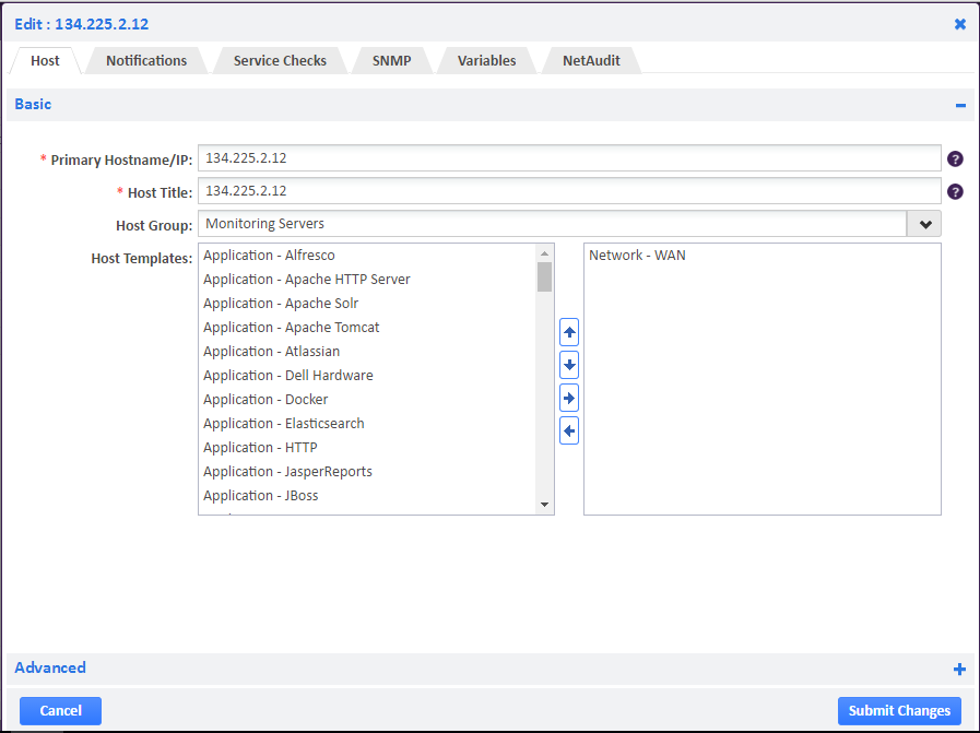 Example of Adding WAN Host Template