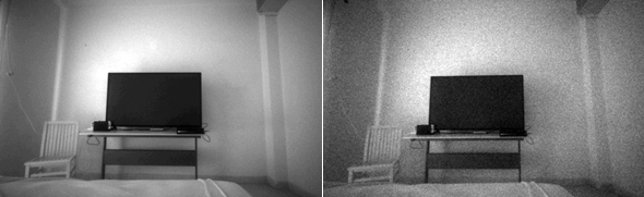 Figure 3. Similar level of brightness achieved by adjusting the exposure (left) vs adjusting gain (right)