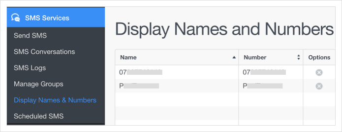Click the 'Display Names & Numbers' link in the left hand menu