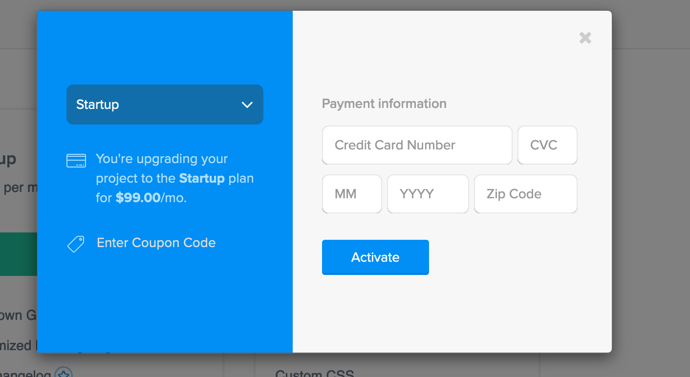 Only the Project Owner (found under General Settings > Manage Team) can purchase a paid plan.