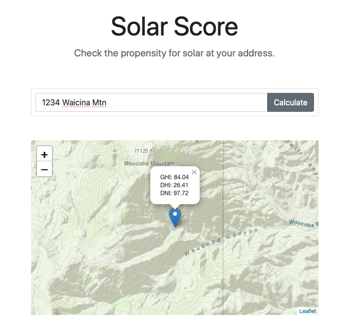 Example solar prediction for a location.