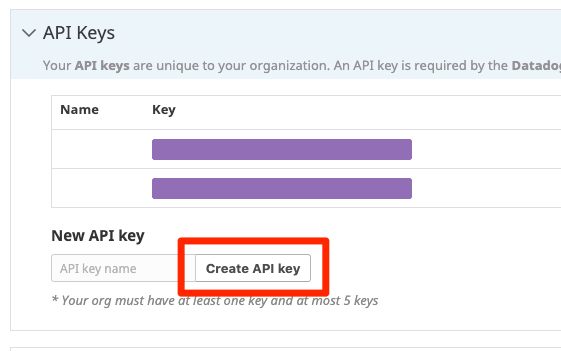 "The Datadog UI with the ""Create API key"" button called out."