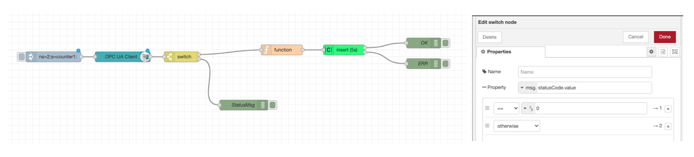 The complete flow where the switch node configuration is shown.