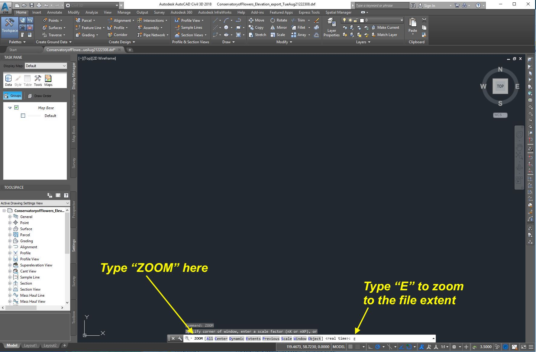 Importing data into AutoCAD Civil 3D