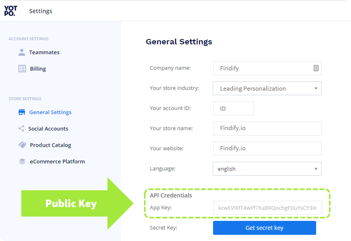 App Key in the API Credentials section