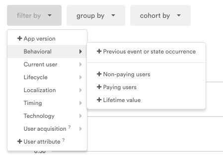 Hover over each dropdown to reveal additional filters and values.