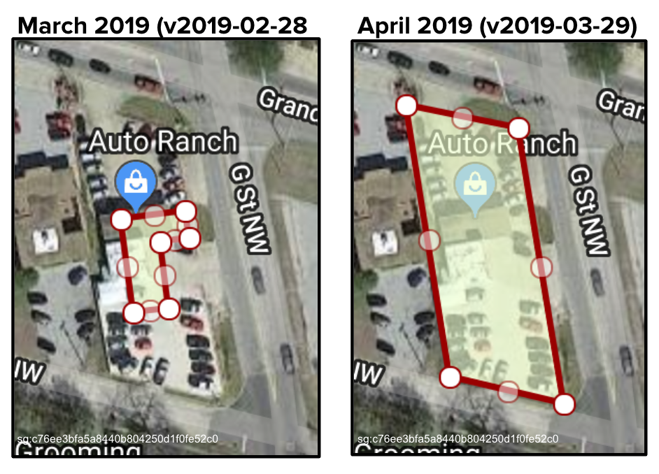 This shows how the `polygon_wkt` for Auto Ranch, a used-car dealership (`sg:c76ee3bfa5a8440b804250d1f0fe52c0`) has been redrawn to include the lot.