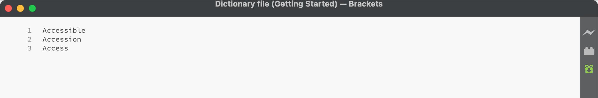 create a dictionary file