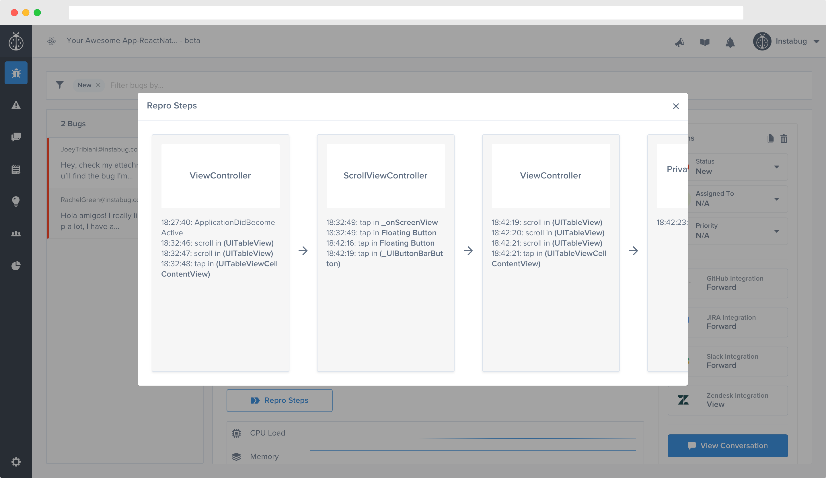 An example of Repro Steps in the Instabug dashboard.