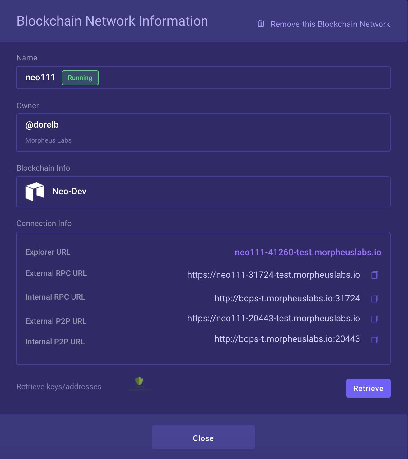 Blockchain Network Informations