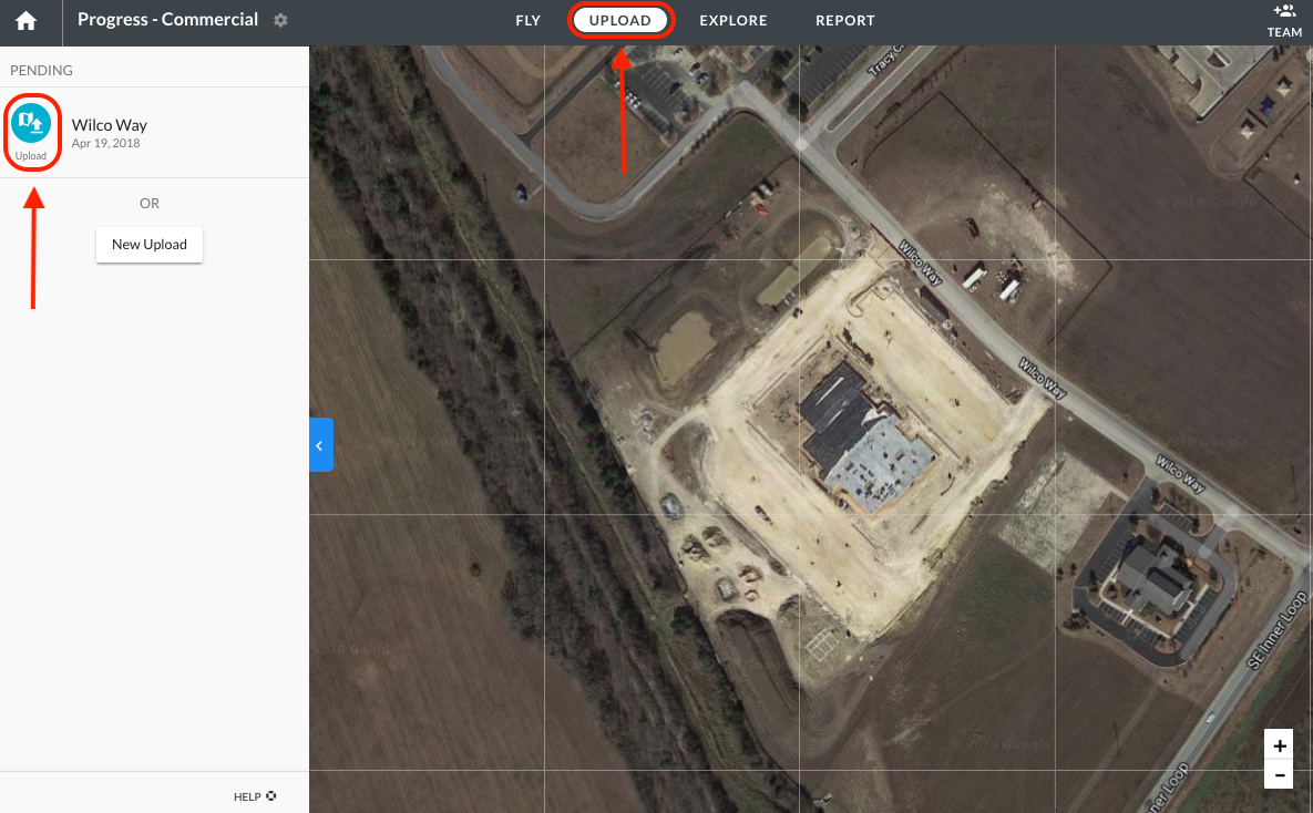 Upload option for flown DroneDeploy mission within a Project.