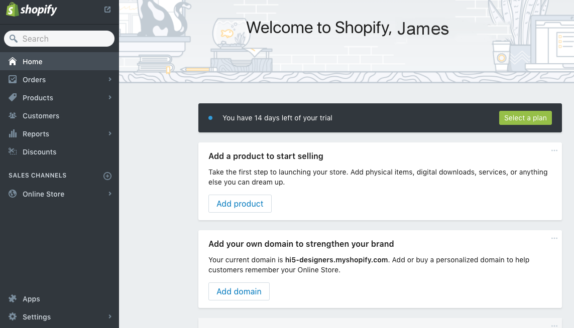 Shopify Administrator Panel