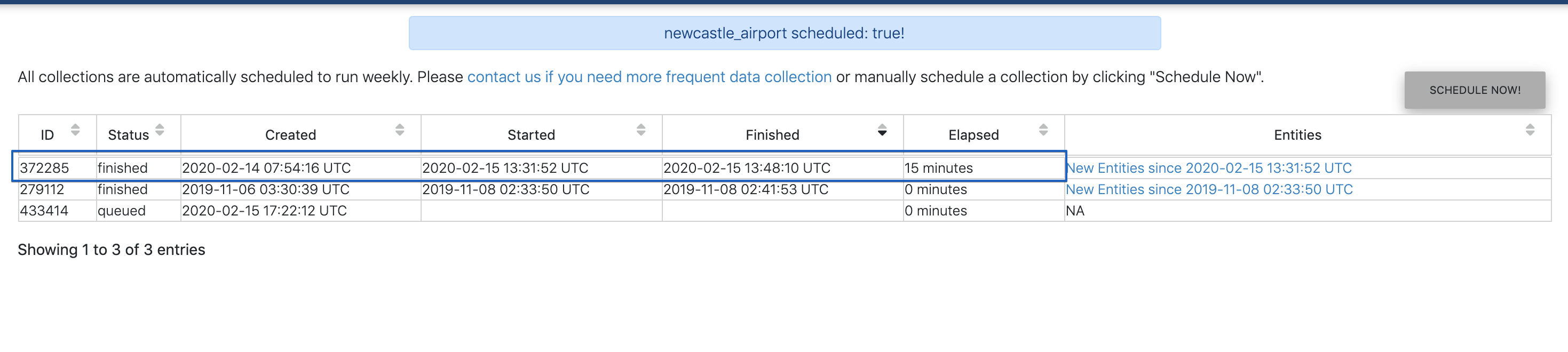 Elapsed minutes are now shown for collection runs.