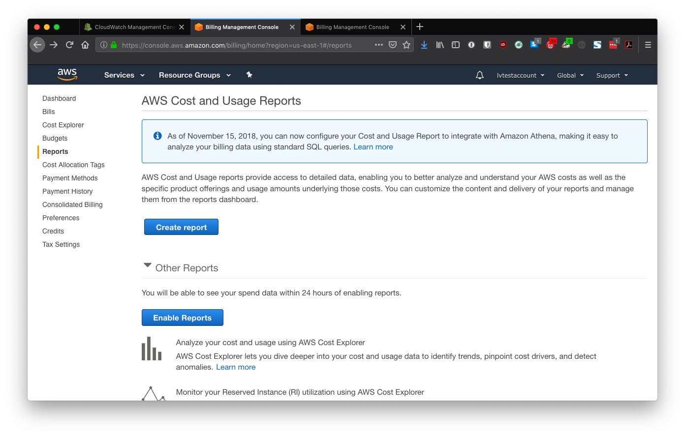 AWS Cost and Usage Reports page