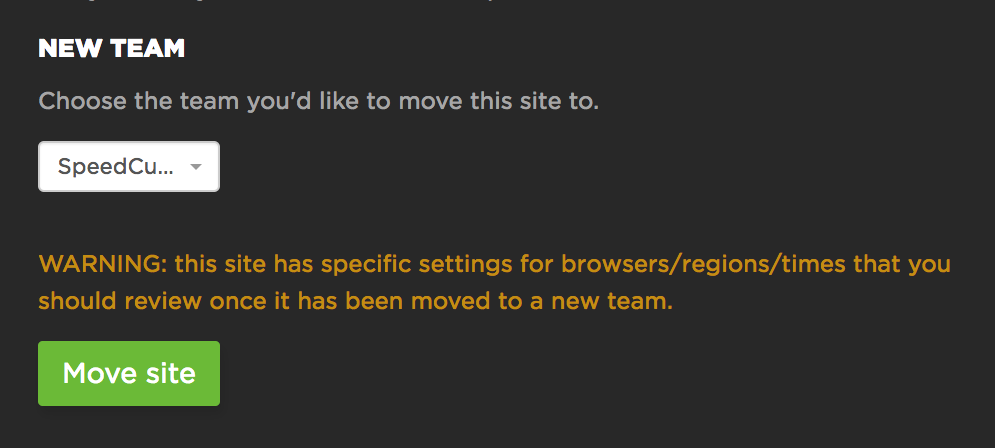 Moving an entire site to another team