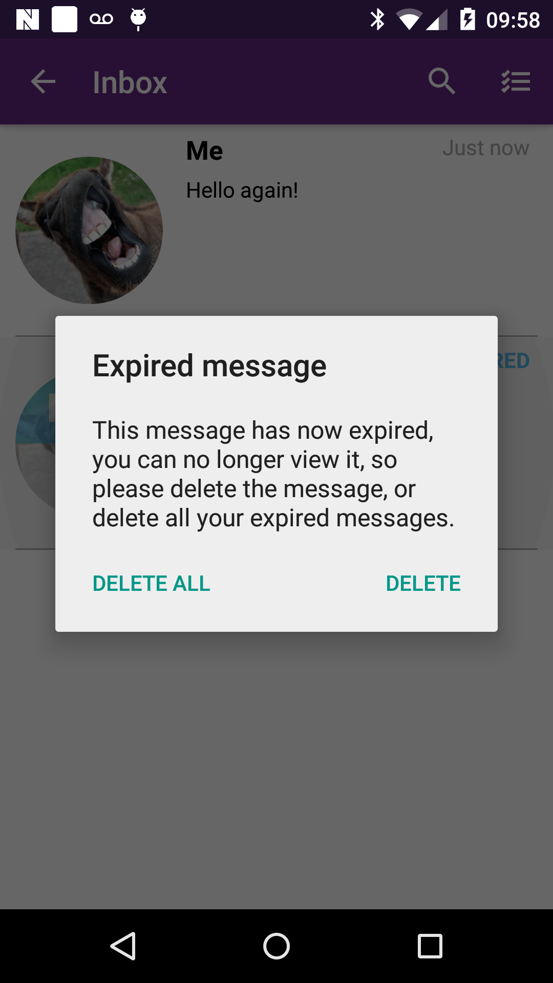 An example of the alert view that is presented to the user if they tap an expired message. On Android device, portrait.