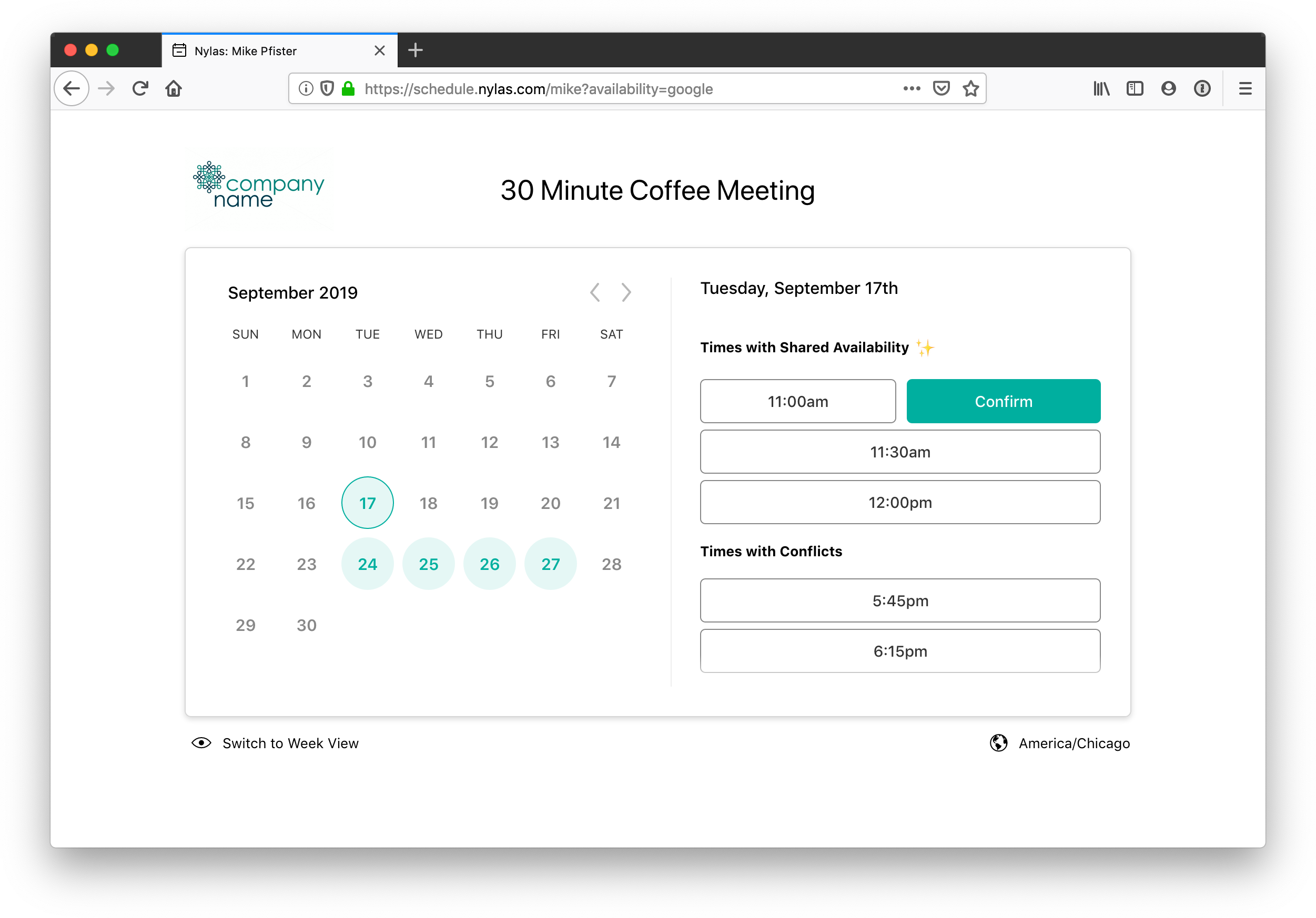 An example scheduling page that visitors can book times with Organizers, based on their availability.